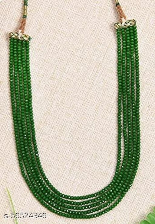 pankhudi jewellers Green Crystal Gemstone Round Beads 5 Layer Necklace for Girl and Women Jewellery