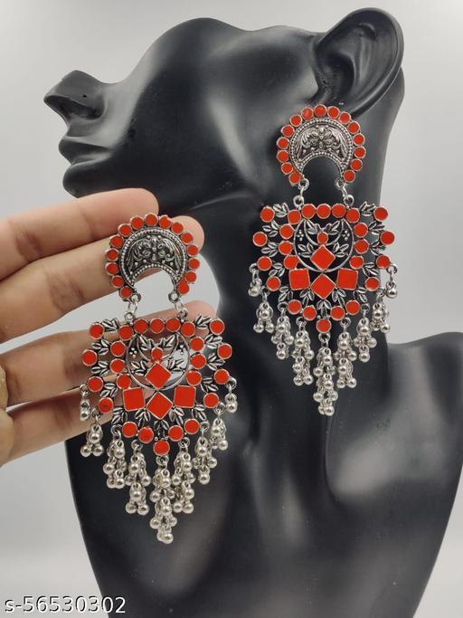 Beautifully Enameled Orange Trendy Earring