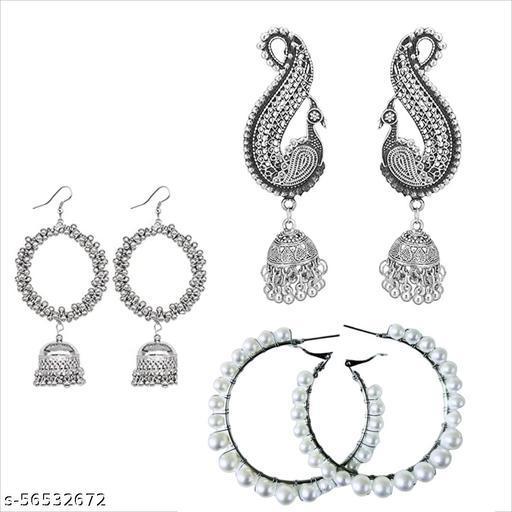 FEEL PRETTY Brass Jhumki Earring pack of 3 pairs