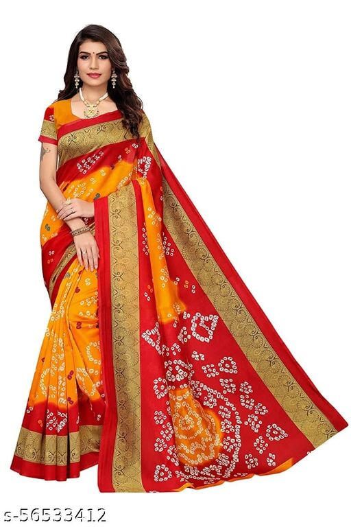 bandhani hathi art silk saree