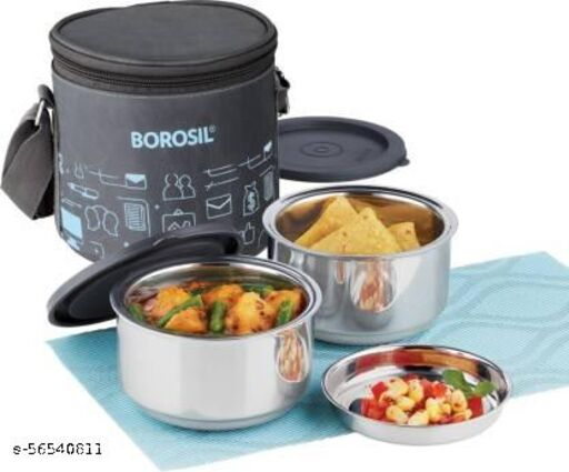 BOROSIL CARRY FRESH SET OF 2 INSULATED LUNCH BOX WITH VERTICAL BAG