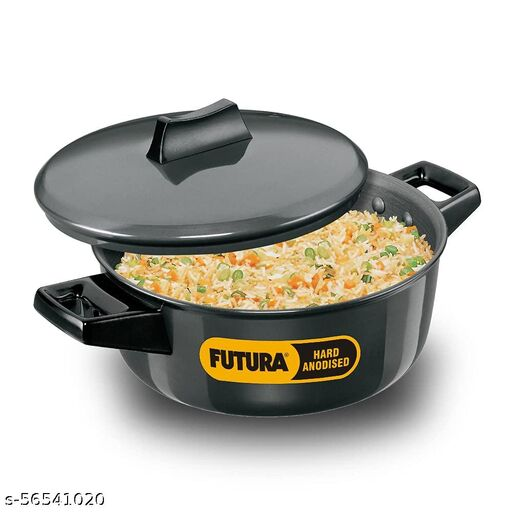 Hawkins Futura Hard Anodised Cook-n-Serve Bowl with Hard Anodised Lid, Capacity 2 Litre, Diameter 20 cm, Thickness 4.06 mm
