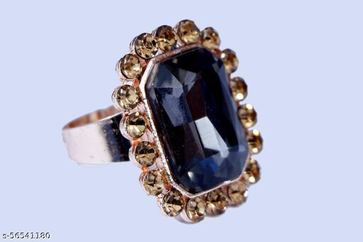 american stone /perals contemporary style black adjustable finger ring for women and girls