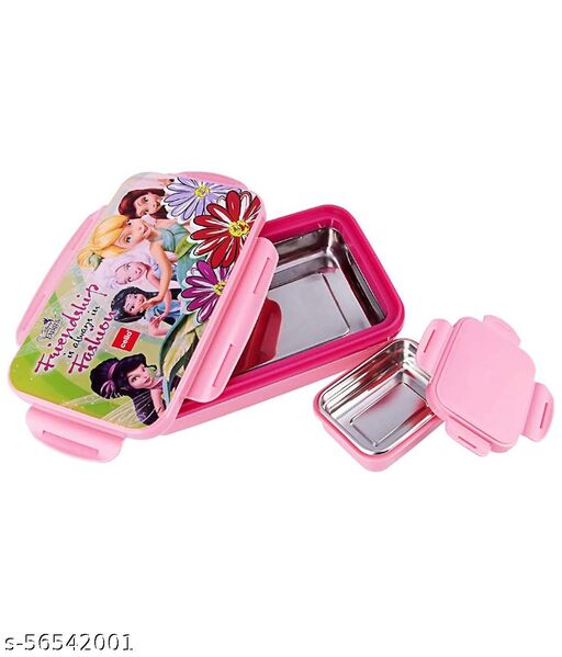 Cello HI-Lunch Big Deluxe Insulated Lunch Box with Inner Steel and Stainless Steel Veg Box, Attractive Fairies Print, Pink