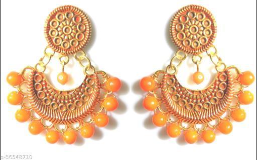 Vivakraft's Beautiful Orange color Jhumka gold plated