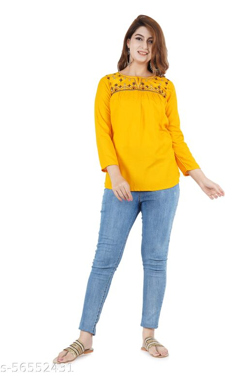 Women's Tunic Embroidered Casual Mustard Rayon Designer Top