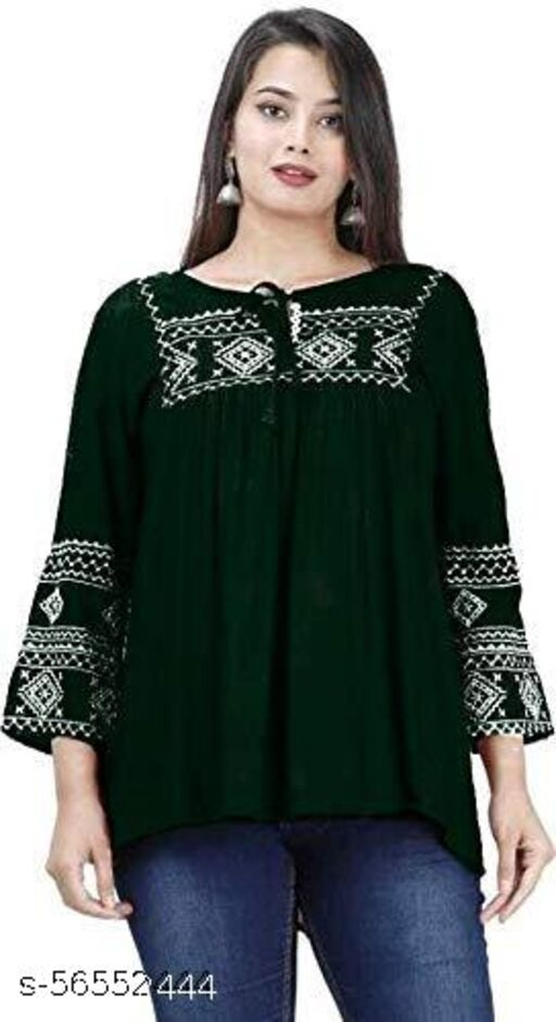 Women's Tunic Embroidered Casual Green Rayon Designer Top