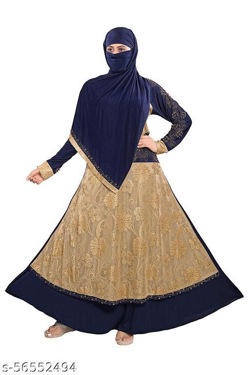 TUCUTE Women's Abaya Burkha With Waist Belt & Scarf / Hijab (249_Cream Navy)