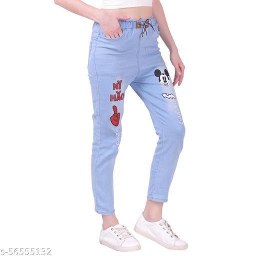 Women Denim Jeans Elastic Waist Drawstring Stretch Side Pockets Casual Jeans