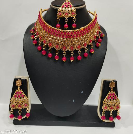 Radhika art jewellery kundan necklace set Rani color