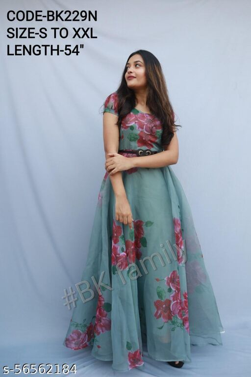 Sizzling Teal Green Organza Floral Printed Long Gown