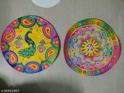 Beautiful Paper Rangoli/Diwali Rangoli/ Floor Decoration Stickers/ Tile Stickers for Diwali/Diwali Decoration Stickers (15 Inch Each Different Styles) (Pack of 2)