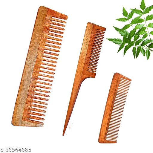 DREAMWIND Neem Wooden Comb for Women & Men | Anti-Bacterial | (Pack of 3)