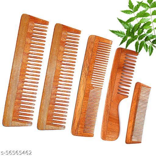 DREAMWIND Neem Wooden Comb Set for Women & Men |Anti-Dandruff (Pack of 5)