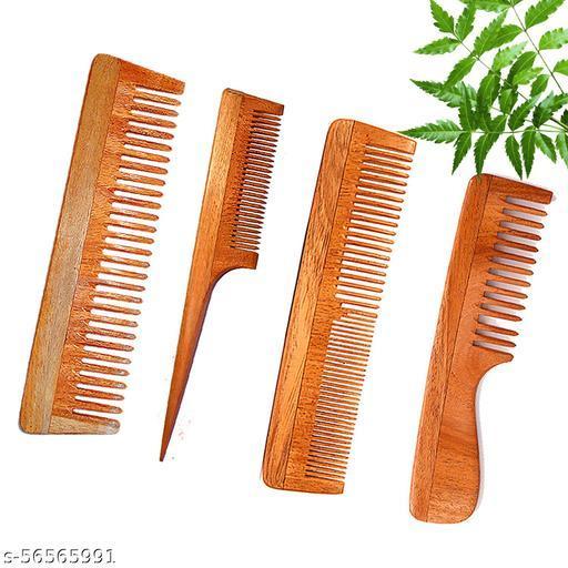 DREAMWIND Neem Wooden Comb Set for Women & Men | Combo of 4 Neem Wood Combs | Hair Growth |Anti-Dandruff