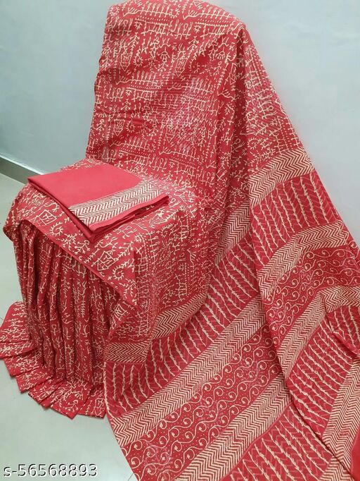 Jai Bhairav Handicraft 'Women's Hand Block Kalamkari Batik Bagru Jaipuri Ikat Printed Handloom Pure Cotton Mulmul Traditional Ethnic Cotton Sarees With Printed Blouse Piece