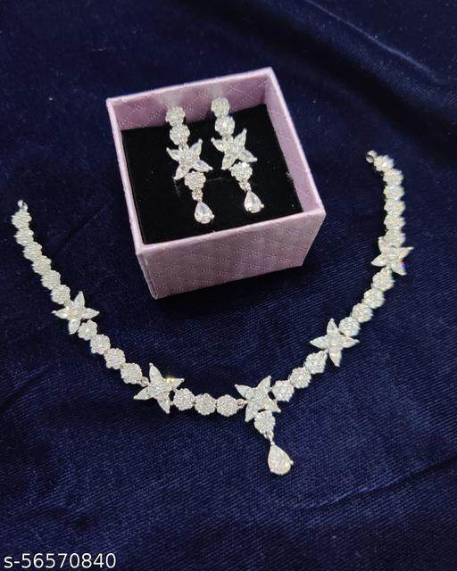 Silver American diamond necklace set