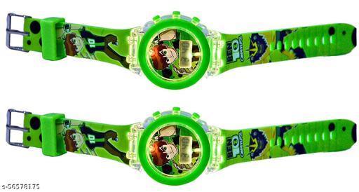 Branded Glow Kid Watch   Ben-10 Kids Analog Led Glowing Light Watch for Kids Set of - 2
