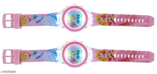 Branded Glow Kid Watch   Princess Kids Analog Led Glowing Light Watch for Kids Set of - 2Unisex Watches