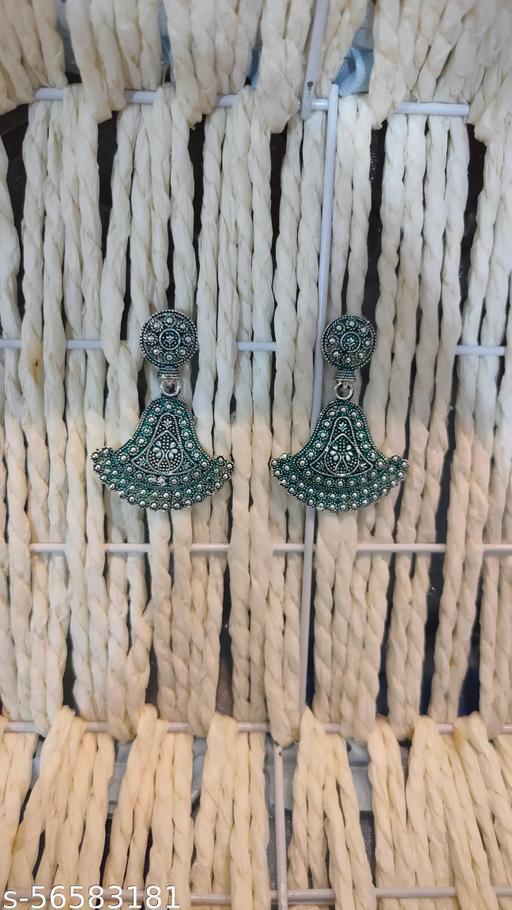oxidised mandala work earrings