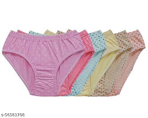 Fashions Womens Cotton Panty (Pack of 6), dotted, Assorted Colour, Inner Elastic