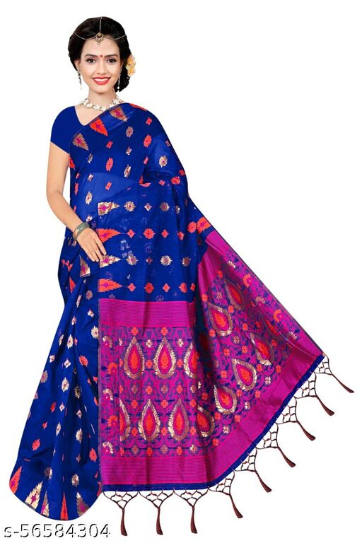 Maa Jagdamba Silk Mills Miss India Designer Zari Woven Blue Saree