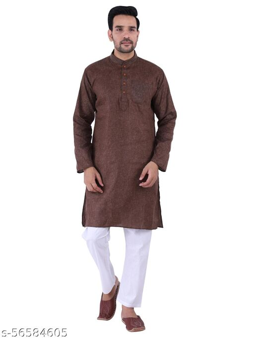 Men Yoga Plain cotton Kurta pyjama set