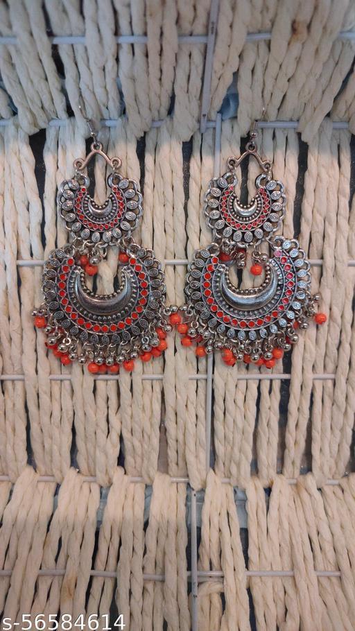 trending oxidised beaded earrings