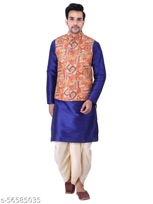 Men Silk Tradition kurta Redymade Dhoti Pant Set