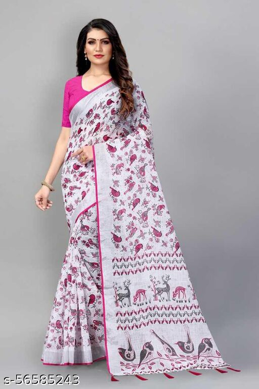 Fancy Cotton Silk Saree With Blouse For Women