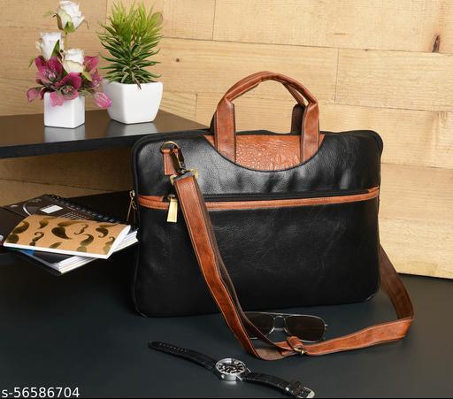 Vivinkaa Faux Leather 15.6 inch Contrast Black Padded Laptop Messenger bag for Men & Women