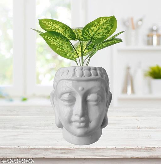 Ceramic Buddha Planter, White