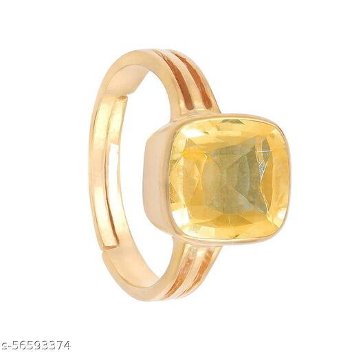 Yellow Sapphire Natural Pukhraj Weight 9.25 Ratti Stone Panch Dhatu Gold Coated Adjustable Ring for Men and Women