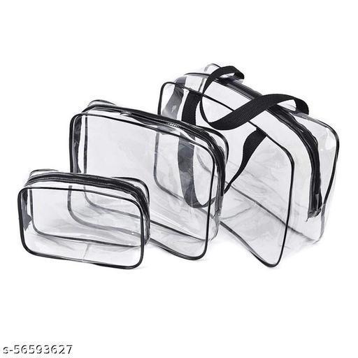 Cosmetic Pouches, Travel Toiletry Bag, Makeup Organiser, Clear PVC Pouches, Set of 3 pcs – Black