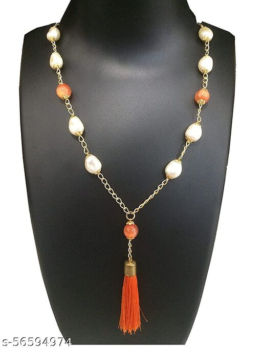 Homeistic Applience_White Moti Mala with orange necklace for women, western jewellery for women White Pearl Moti Mala for Women
