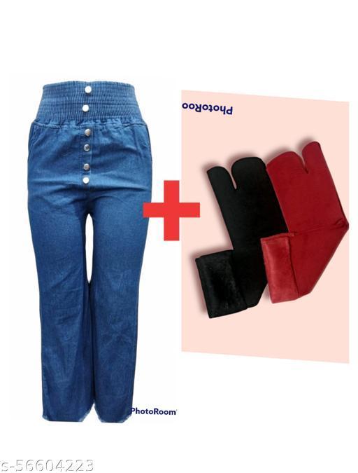 Women stylish denim jeans + 2 pairs stylish socks (COMBO )