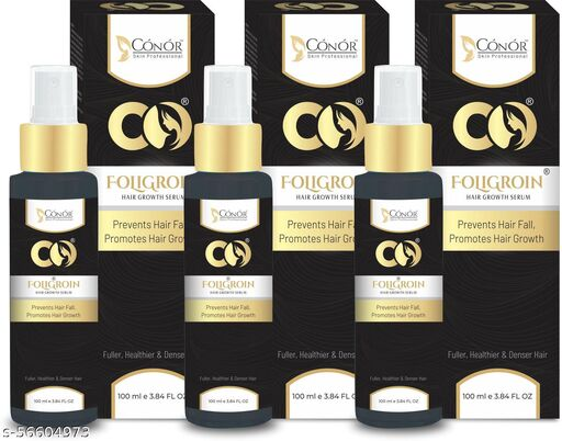 Conor Foligroin Hair Growth Serum For Hairs Damage Pack of 3 {100 ML}