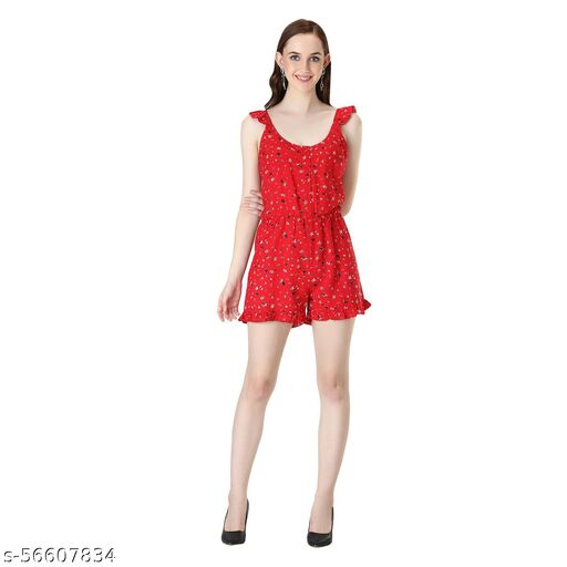 WOMEN FITTED RUFFLE CASUAL ROMPER