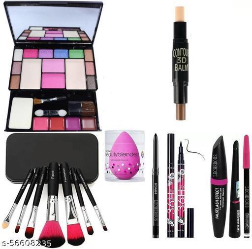 BLACK Smudge Proof Kajal,3in1 Combo set,36h Eyeliner,Washable Makeup Sponge/Puff ,Set of 7 BLACK/PINK Makeup Brushes, All in One Best Makeup kit 6171 (Eyeshadow,Blusher,Compact,Lip Gloss) &  Contour Stick
