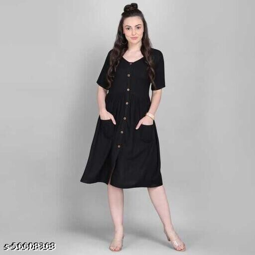 KIAKA fabric Handwoven Solid Rayon Kurti for Women/Kurta for Women/Ethnic Wear (Black) (Small)