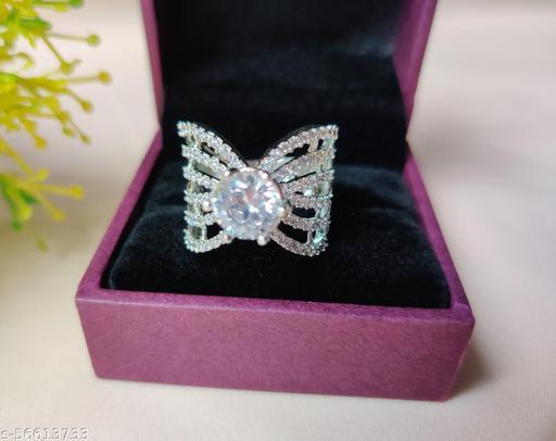little bit adjustable ring American Diamond Butterfly Ring For Women & Girls American Diamond Butterfly Ring For Women & Girls Crystal Sterling Silver Plated Ring
