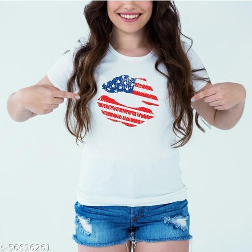 Designer Printed T-Shirt :: Design type - American Lips - Cloth type : Polyester