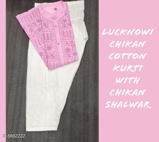 Women's Embroidered Cotton Kurta set with Salwar