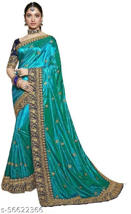 21st Fashion  Embroidered Bollywood Silk Blend Saree