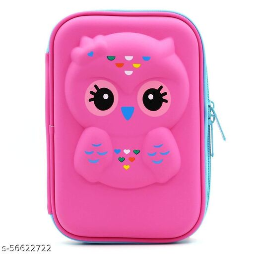 Stylish Pen Pencil Box Case Pouch Large Capacity With Zipper For School Students Kids Girls Teens (Owl, Dark Purple)
