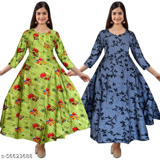 HANUMAN SALES Women Rayon Flared Printed Gown