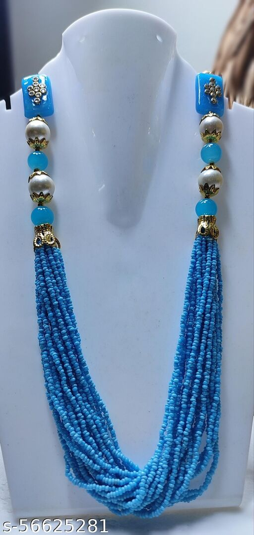 Hasthmade - Sky blue and white pearl jaipuri garland necklace