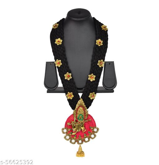 Unique Fashion House Golden Oxidised Mor Pankh Bansuri Pendant Necklace with Jute, Fabric and Mirror work for Women and Girls