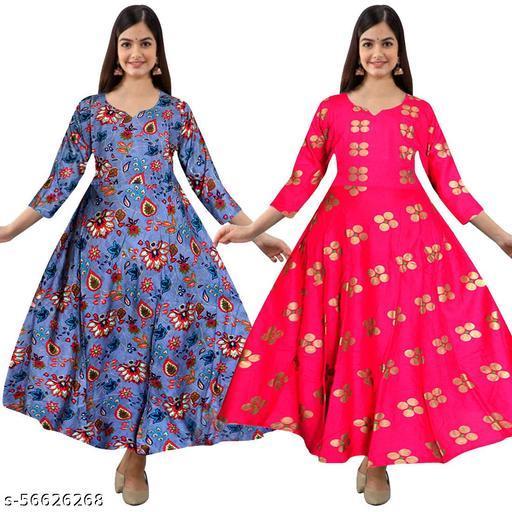 KALYAN ENTERPRISES Women's Rayon Multicolor Gowns