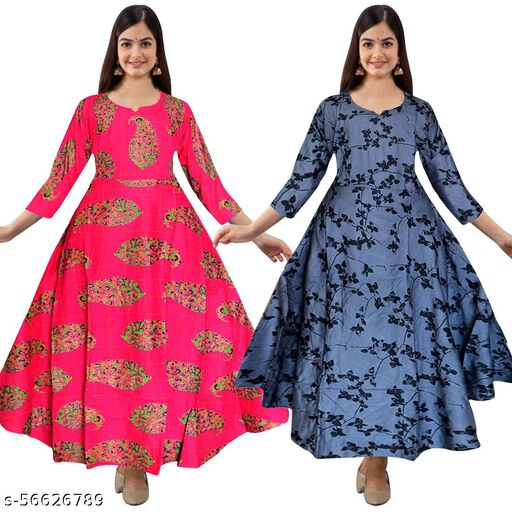 PINK CITY MART Women's Rayon Printed Flared Gowns